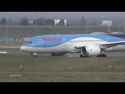 Airport Birmingham movements in 4K impressive Emirates Boeing 777 and Thomas Cook Dreamliner takeoff