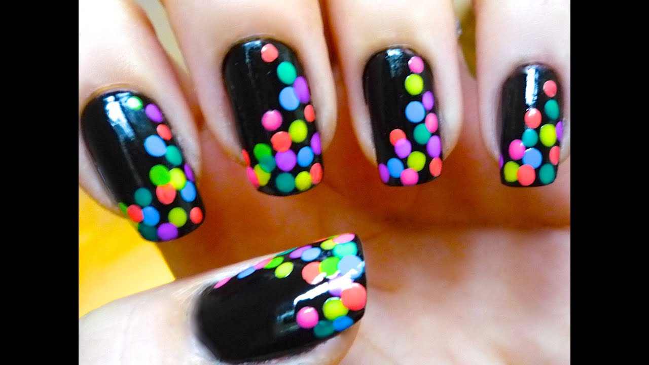 Nail Art Designs Dotted Black And Colorful Nail Art Tutorial Youtube