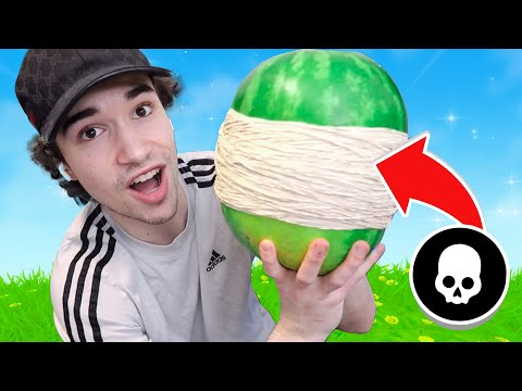 i put RUBBER BANDS on a WATERMELON every time i die in Fortnite