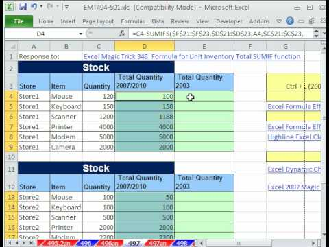 Excel Magic Trick 497 Unit Inventory Total For Each Store SUMIFS or