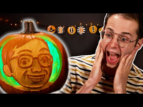 Carving Each Other's Faces On To Pumpkins