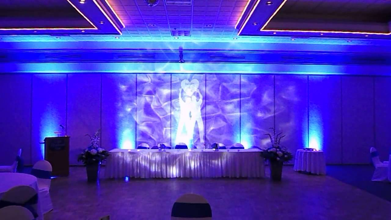 under the sea wedding blue uplighting water effect