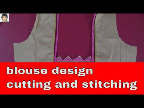 हिन्दी Creative Blouse Design tutorial | Make design from your saree cut piece,cutting and stitch thumbnail