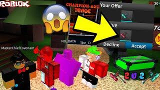 MASTER AND FUSION VS NO_DATA AND WEIRDBREAD2003! *TRADING FOR CHAMPION AXE I* (ROBLOX ASSASSIN 2V2)