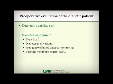 Preoperative evaluation of patients with diabetes