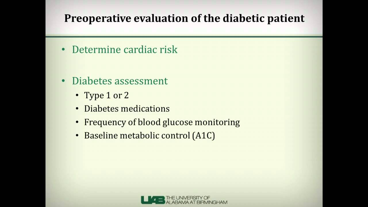 care of the perioperative diabetic patient Management of glycemic levels in the perioperative setting is critical, especially in diabetic patients the effects of surgical stress and anesthesia have unique effects on blood glucose levels, which should be taken into consideration to maintain optimum glycemic control.