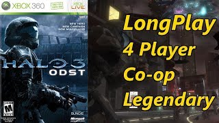 Halo 3: ODST - Longplay 4 Player Split Screen Co-op Legendary Full Game Walkthrough (No Commentary)