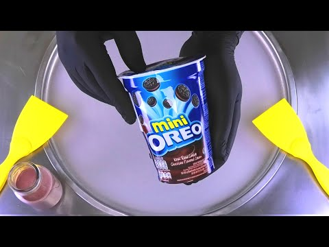 mini OREO Ice Cream Rolls - see how we make Oreo Cookies to fried Ice Cream - Recipe | ASMR Food