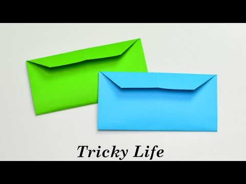 DIY - EASY WAY TO MAKE AN ENVELOPE WITHOUT GLUE || ORIGAMI PAPER ENVELOPE TUTORIAL || TRICKY LIFE