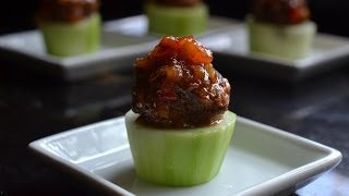 Sweet N Sour Meatballs In Cucumber Cups