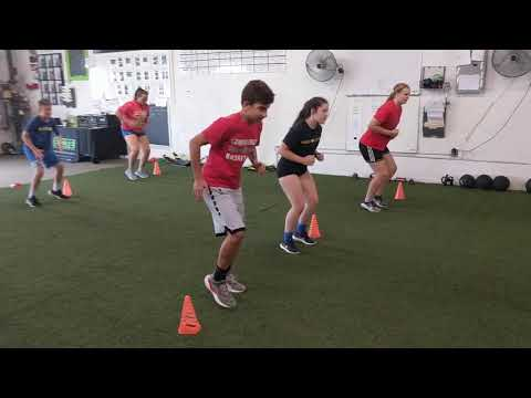 Athletes working on power/plyo step
