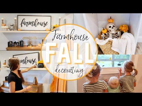 FARMHOUSE STYLE DECORATE WITH ME | HALLOWEEN DECOR | FALL DECORATING | FALL LIVING ROOM DECOR IDEAS