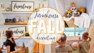 FARMHOUSE STYLE DECORATE WITH ME | HALLOWEEN DECOR | FALL DECORATING | FALL LIVING ROOM DECOR IDEAS