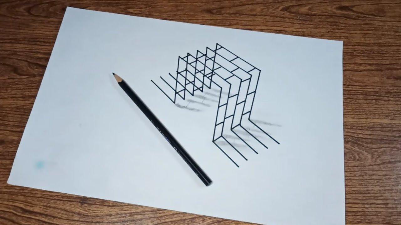 Belajar cara menggambar 3d di kertas untuk pemula (part 10) - simple drawing tutorial