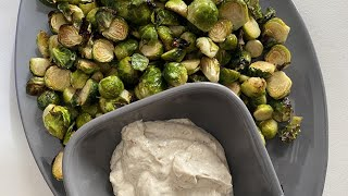 How To Make Air Fryer Brussels Sprouts With Garlic Aioli | Quick Holiday Side