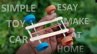 How to make a rubber band powered toy car DIY CAR