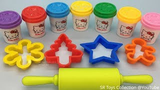 Learn Colors with Hello Kitty Play Dough with Christmas Themes Cookie Molds and Surprise Toys
