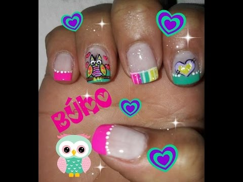 decoracin uas bho decoracin de uas buhos owl nail art youtube