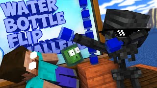 Monster School : CRAZY BOTTLE FLIP Challenge - Minecraft Animation