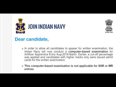 Online Examination for Artificer Apprentice of Indian Navy 2018.