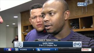 Miguel Cabrera mocking Justin Upton during postgame interview