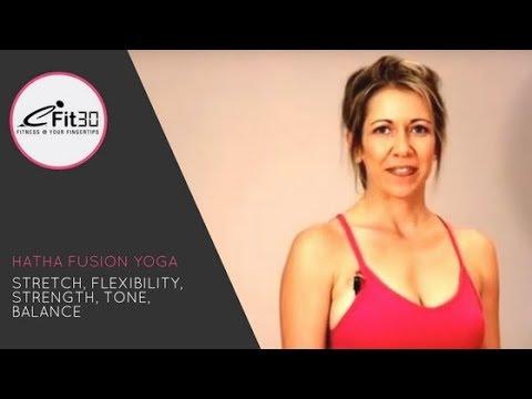 Hatha Fusion Yoga, Stretch, Flexibility, Strength, Tone, Balance 30 Mins - 동영상