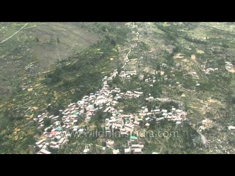 Aerial footage of Kashmir valley and villages