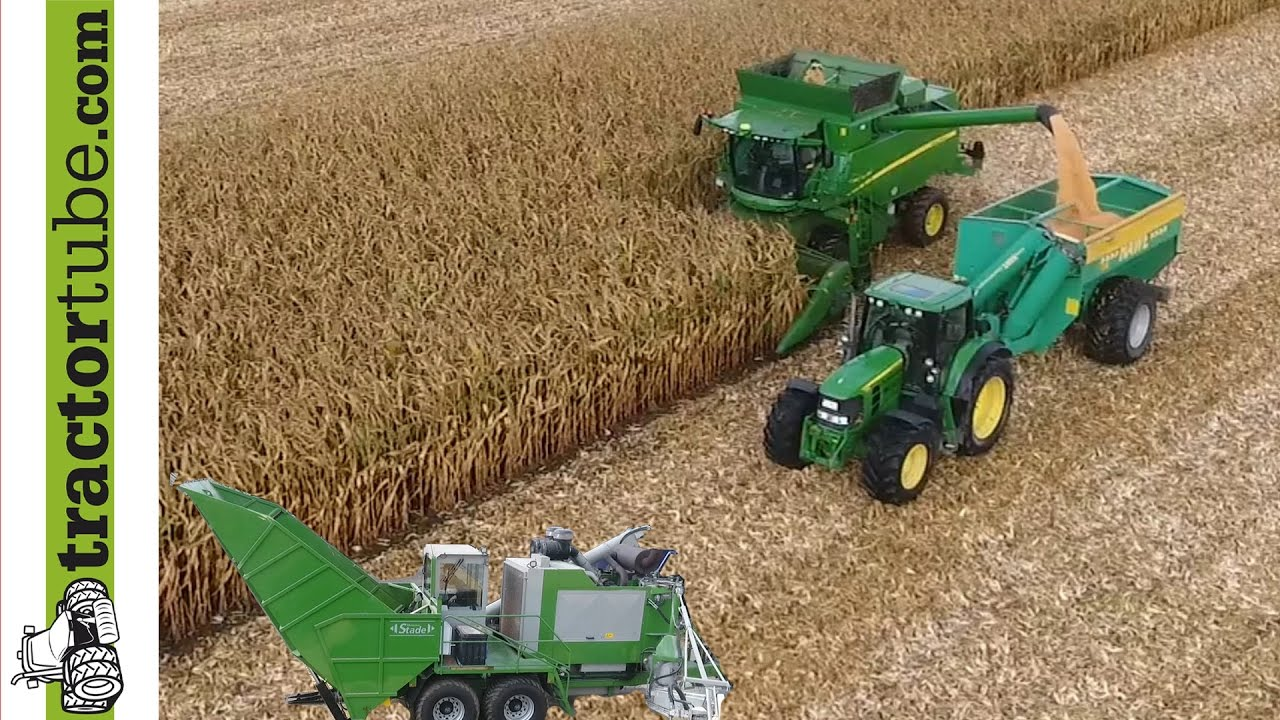 Mais dreschen mit John Deere T660i Combine & Hawe & Stade Mühle durch LU  Schmiemann
