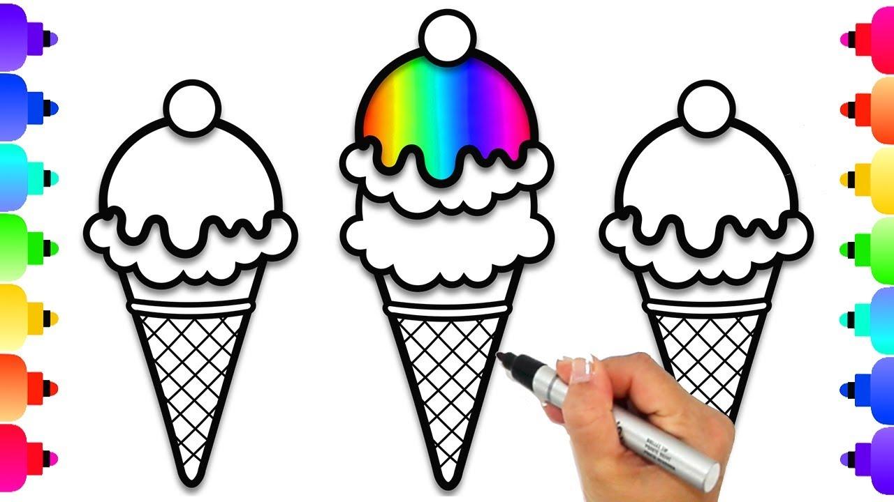 How To Draw Rainbow Ice Cream Cones Rainbow Ice Cream Cones