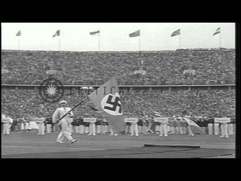 German Chancellor Hitler officially opens the 1936 Summer Olympics held in Berlin...HD Stock Footage