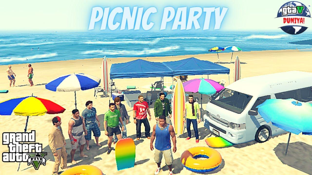 Franklin's Hawksbay Beach Picnic Party With FUNTERS In Gta V | Hiace Van 2020 | Real Life Mod Gta 5
