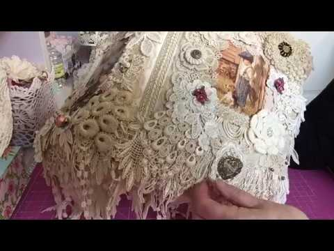 16 October 2017. 'Best Friends' fabric/lace book