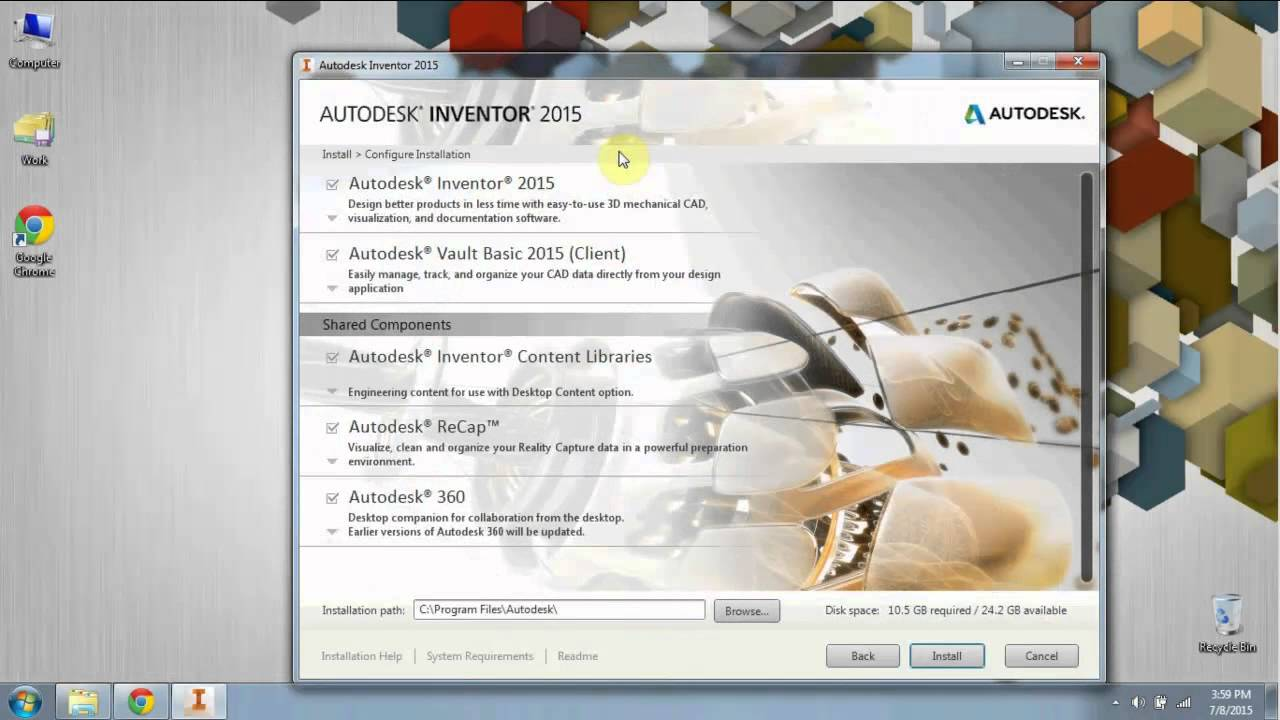 Autodesk Inventor 2015: To register, download, install and use the free 3  year copyright