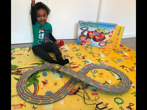My First Scalextric Unboxing And Review With Playtime. Kids toys with Lets Do This kids