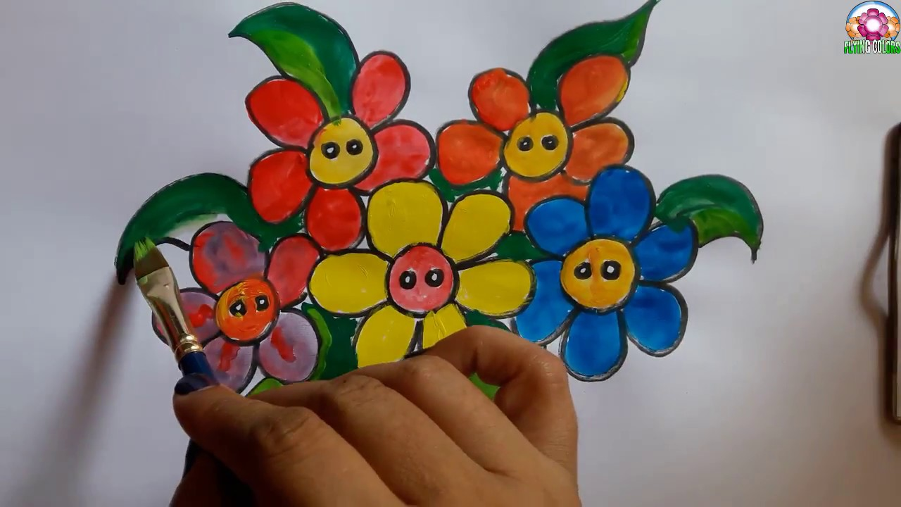 How To Draw Easy Flower Vase With Flowers Step By Step For Kids Flower Pot Coloring Youtube