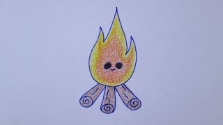 Como desenhar uma fogueira muito fofa