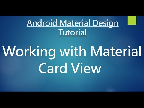 Android Material Design - 10 - Working with Cards