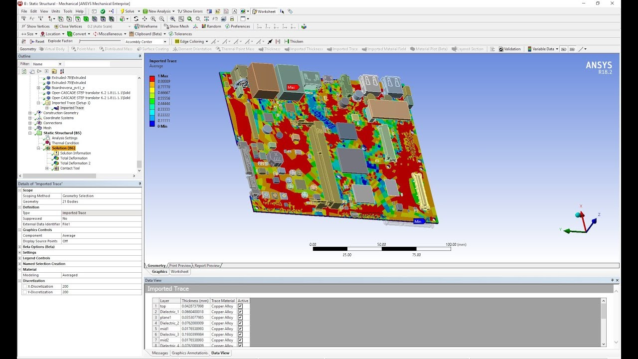 ANSYS PCB Warpage Analysis Part 3: Trace mapping and Simulation