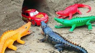 Game Giant Corcodile Attacks Cars | Toys Kids | Superheroes Cartoon