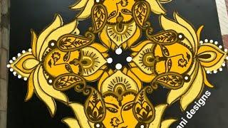 Special rangoli for Navaratri..lotus rangoli..kaluvapuvvu muggu..11 to5 dots