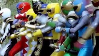 Power Ranger Dino Trueno y Ninja Storm team-up | Transformación y batalla