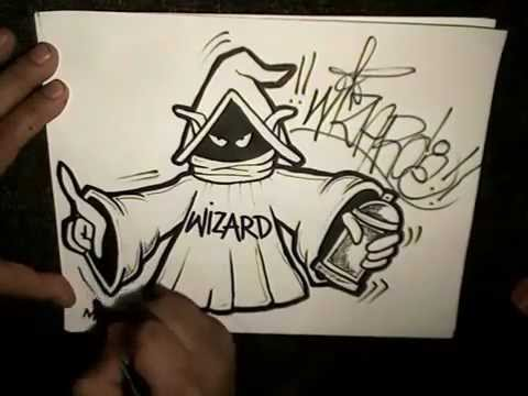 how to draw a wizard holding spray paint can youtube. Black Bedroom Furniture Sets. Home Design Ideas