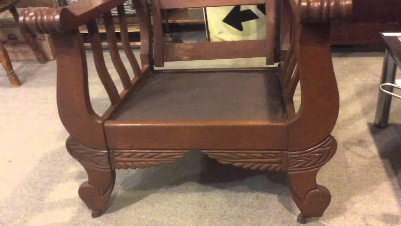 Morris chair antique solid oak - Morris Chair Antique Solid Oak - YouTube