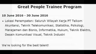 Lowongan Kerja Great People Trainee Program Telkom PT Telkom ( BUMN) Juni 2016BUMN, FRESH GRADUATED