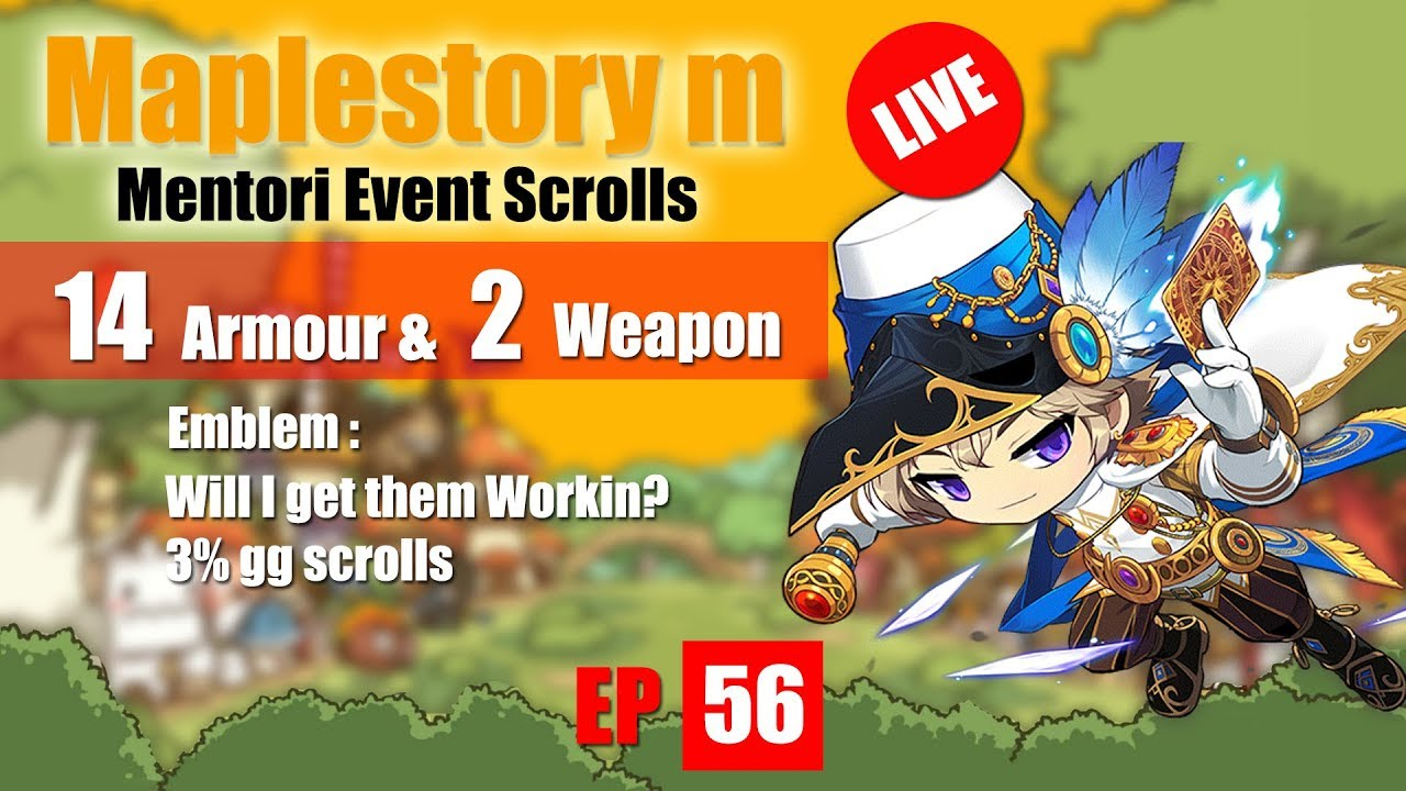 Maplestory m - 14 Armour and 2 Weapon Emblem Scrolls 3% Ep 56