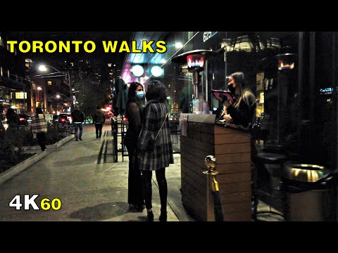 Second Wave Night Walk in Downtown Toronto on October 2, 2020 [4K]