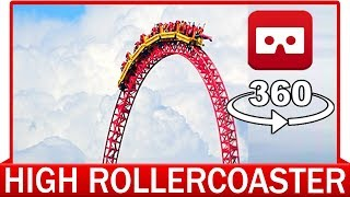 360° VR VIDEO - Roller Coaster Red - VIRTUAL REALITY - Theme Park Rollercoaster VR Roller