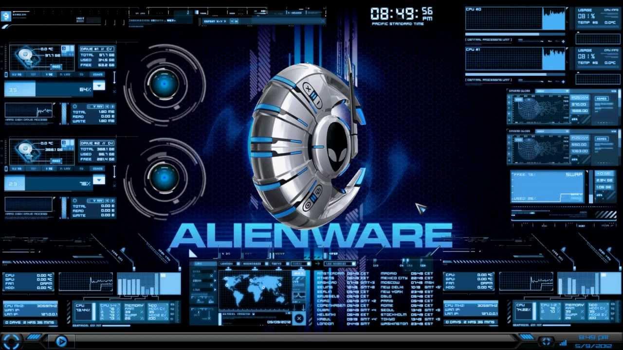 3d Live Wallpaper For Windows Xp Free Download Hud Theme Evolution Rainmeter Alienware Media Skin