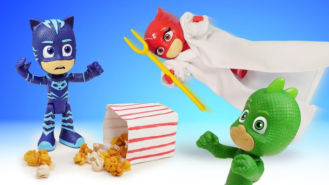 Герои в масках убегают от привидений?! Алетт испугала Гекко и Кэтбоя. Видео про игры в супергероев