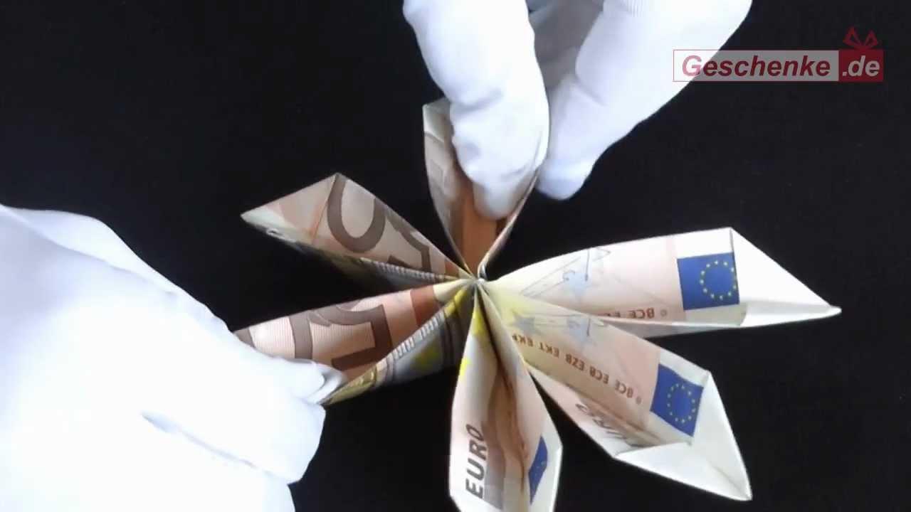 Origami-Faltanleitung: Geldscheine zur Blume falten - YouTube